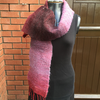Mohair and Wool Mix Scarf - Red Sky