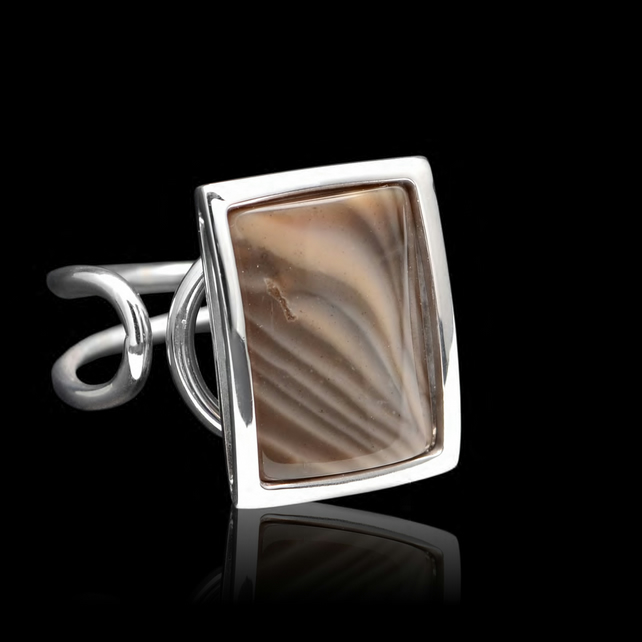 Unique Polish Cappuccino Striped Flint Rectangle Oblong Ring Adjustable Handmade