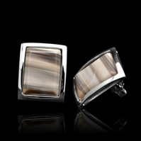 Diamond Polish Unique Cappuccino Striped Flint Rectangle Oblong Stud Earrings