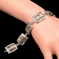 Polish Cappuccino  Flint Striped Rectangle Bracelet Bangle Sterling Silver 925