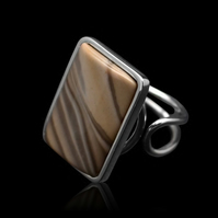 Polish Unique Cappuccino Striped Flint Rectangle Oblong Ring Adjustable Handmade