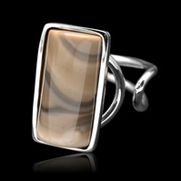 Cappuccino Unique Striped Flint Rectangle Oblong Ring Adjustable Sterling Silver