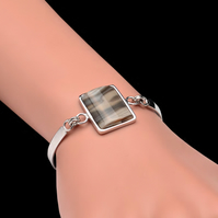 Unique Cappuccino Striped Flint Bracelet Rectangle Handmade Sterling Silver 925