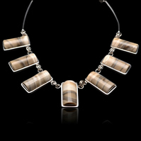 Polish Cappuccino Unique Flint Striped Rectangle Beaded Necklace Sterling Silver