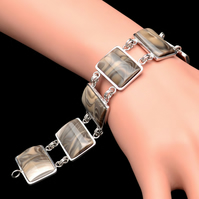 Unique Cappuccino  Flint Striped Rectangle Bracelet Bangle Sterling Silver 925