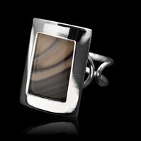 Unique Cappuccino Striped Flint Rectangle Oblong Ring Adjustable Sterling Silver