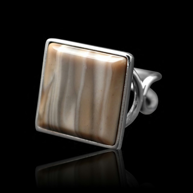Polish Diamond Unique Cappuccino Striped Flint Square Ring Adjustable Handmade