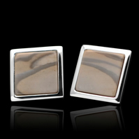 Unique Cappuccino Striped Flint Square Stud Earrings Sterling Sliver Handmade