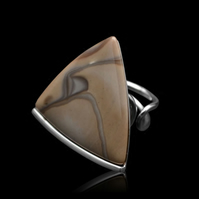Polish Cappuccino Striped Flint Triangle Adjustable Ring Silver 925 Handmade