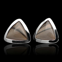 Cappuccino Striped Flint Triangle Stud Earrings Sterling Sliver 925 Handmade