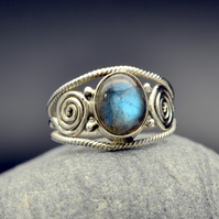 Labradorite Oval Cabochon Ring, Sterling Sliver 925, size US 10 or UK S