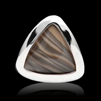 Unique Polish Cappuccino Striped Flint Triangle Ring Adjustable Sterling Silver
