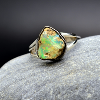 Opal Ring Rough Cut, 925 Sterling silver .US 9 or UK R