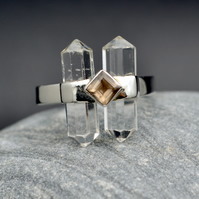 Herkimer Diamond with Smokey Quartz, Sterling Silver 925, SIZE US 10 OR UK V