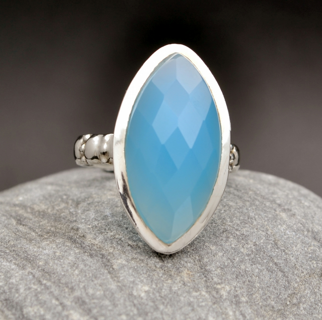 Chalcedony Faceted Marquise Cut, Sterling Silver 925. Size US 8 OR UK Q