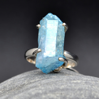 Aqua Aura Quartz ring, claw set with 925 sterling silver. size US 7 OR UK O.