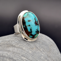Turquiose Oval Cabochon Ring, set in Sterling Silver size US 6 OR UK 7