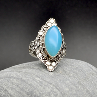 Blue Chalcedony, Marquise Cabochon, 925 Sterling Silver US 7 OR UK N