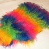 Rainbow Fun Fur Hot Water Bottle Cover