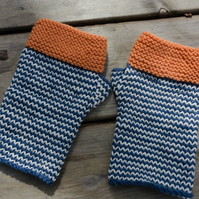 Hand knitted striped fingerless mitts