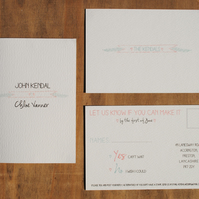 Personalised Wedding Invitation & RSVP. Style 2