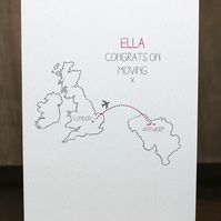 Personalised Moving Abroad Card