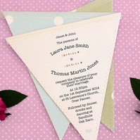 Bunting Wedding Invitation in Fabric and Paper for Rustic-Vintage Wedding