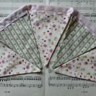 Dainty green and pink floral bunting