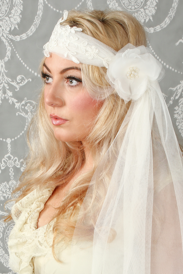 Bohemian Ivory Soft Tulle Lace Veil Pearled Fl Folksy