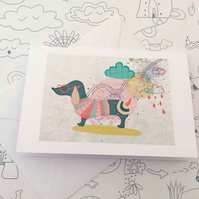 Illustrated Sausage Dog Greeting Card