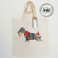 Cotton Tote Bag Mr Snuffles - Schnauzer Illustration