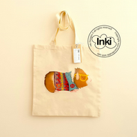 Cotton Tote Bag - Archie Guinea Pig Illustration