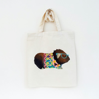 Cotton Tote Bag Lola Guinea Pig Illustration