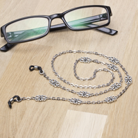 Silver glasses chain - Elegant fancy links eyeglasses chain - Sunglasses lanyard