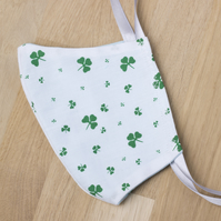 Face mask - 2 layer face covering with ties - lucky shamrock pattern - adult