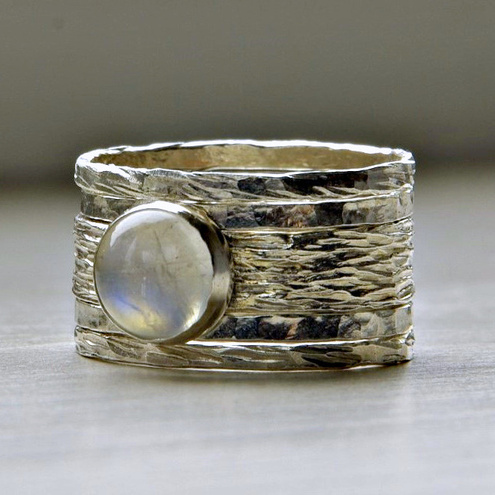 Simone rustic stackable wedding ring - set of five textured wedding / engagement rings with moonstone, made to order