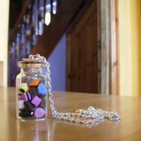Miniature Glass Bottle with Tiny Handmade Liquorice Allsorts Necklace