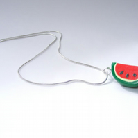 Watermelon Necklace - Kawaii Summertime Watermelon Charm - Cute Fruity