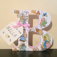 Beatrix Potter free standing letter - New baby, Christening, Birthday