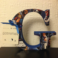 G is for Godfather, Grandad or name  standing Star Wars covered letter 12.5 cm