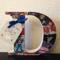 Dad, Daddy or name free standing comic covered letter 12.5 cm Father's Day