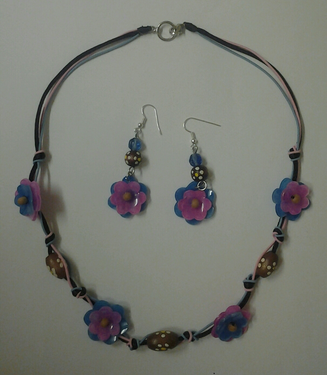 Flower and Bead Necklace and Earring Set