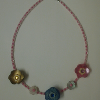 Flower and Bead Memory Wire Necklace