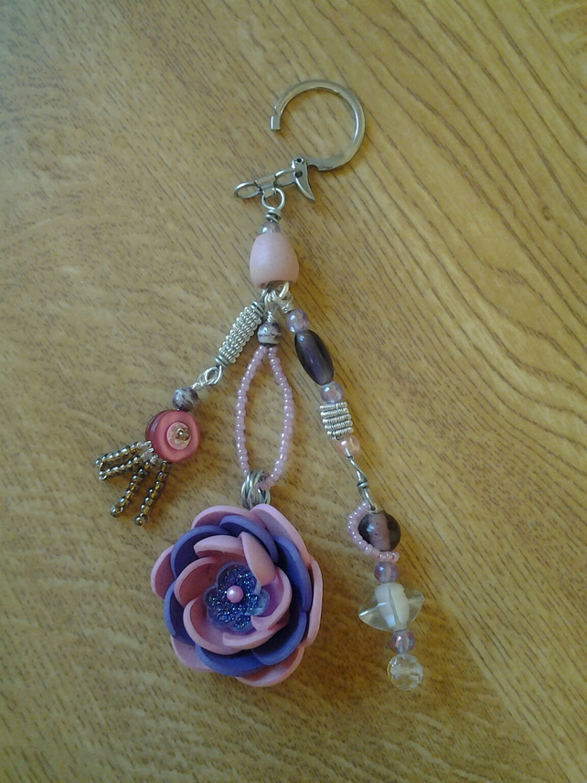Flower and Bead Bag Charm