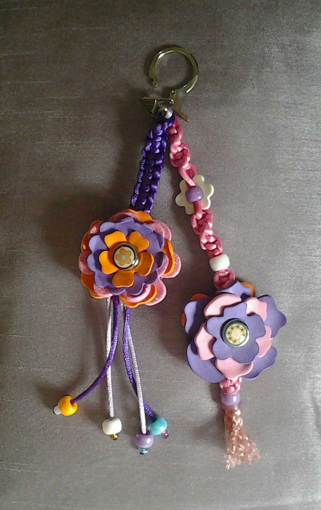 Macrame & Flower Bag Charm