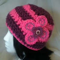 Purple and Pink Stripe Hat