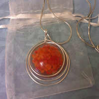 Resin Pendant with snake chain