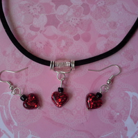Resin Heart Necklace & Earring Set