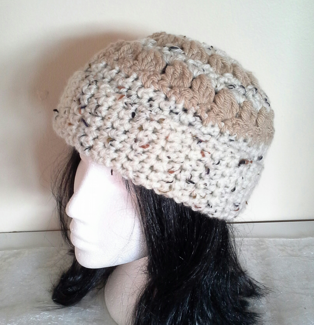 Cream and Nutmeg Crochet Hat