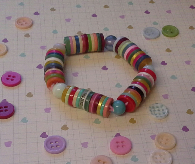 Multi Coloured Button Bracelet